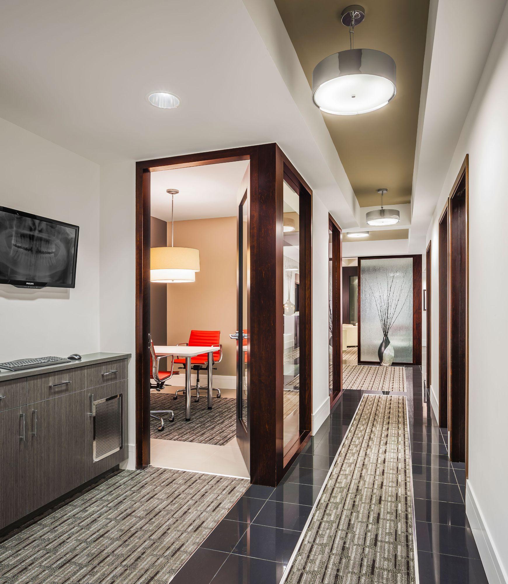 Dental office design exceptional smiles joe architect for Office hallway design