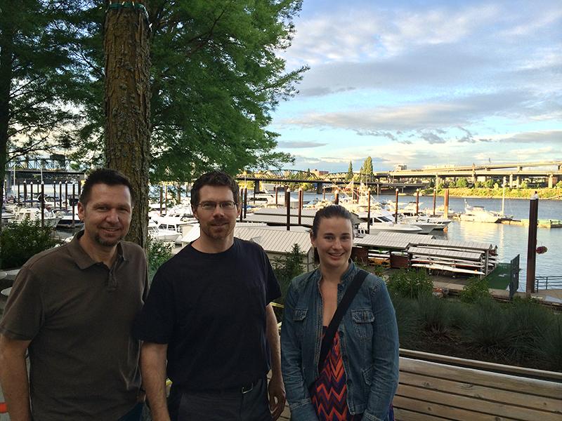 Joe, Joe and Kristi along the Willamette River